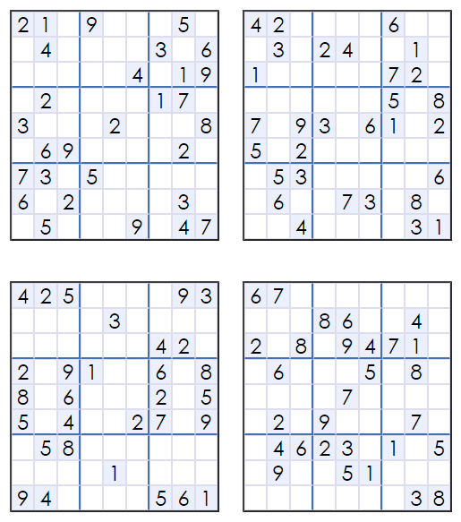 Revered image inside printable sudoku puzzles 4 per page